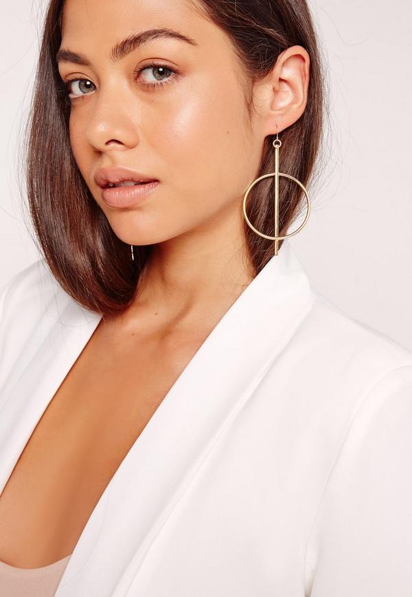 Circle Drop Earrings Gold
