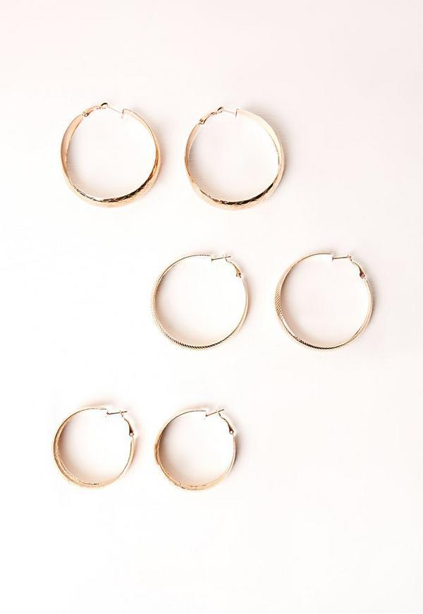 Three Pack Hoop Earring Set Gold