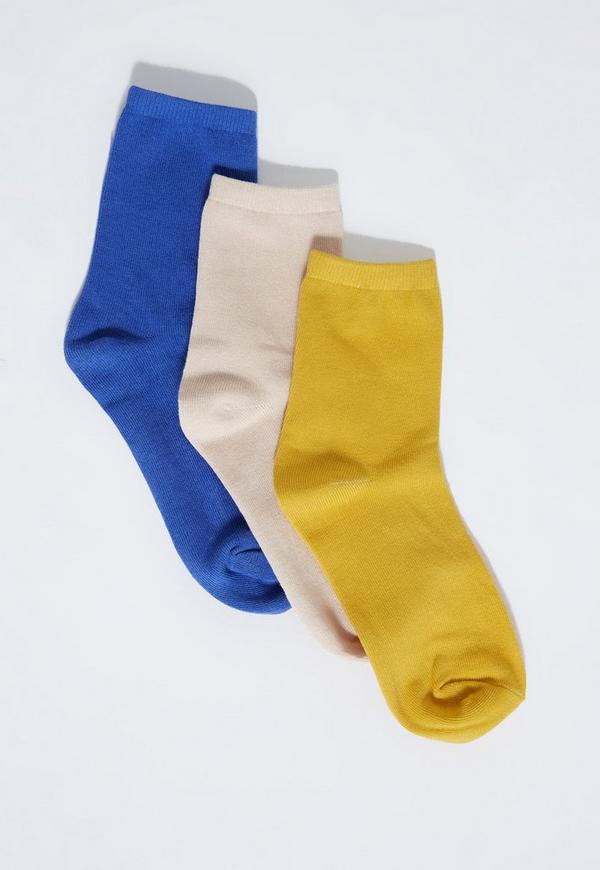 Blue 3 Pack Basic Socks