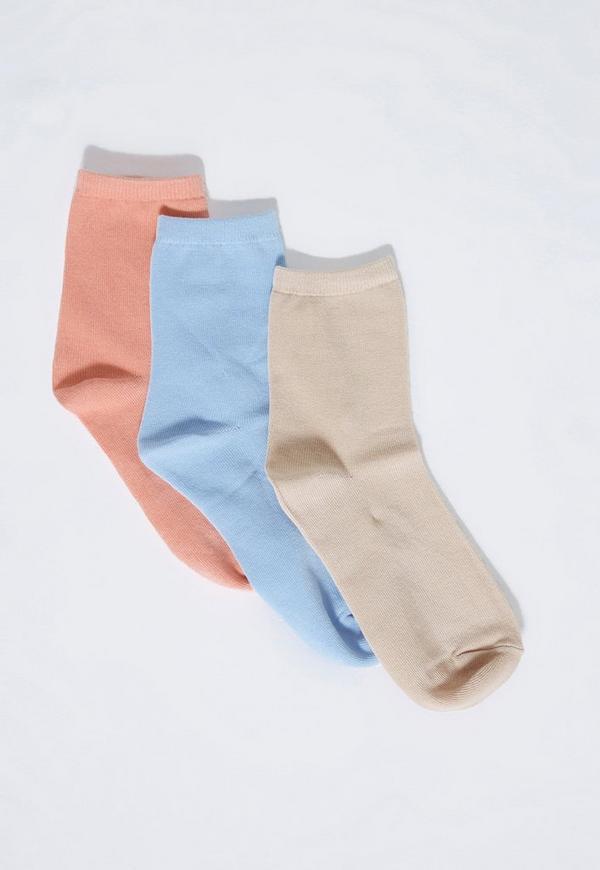 Pink 3 Pack Basic Pastel Socks
