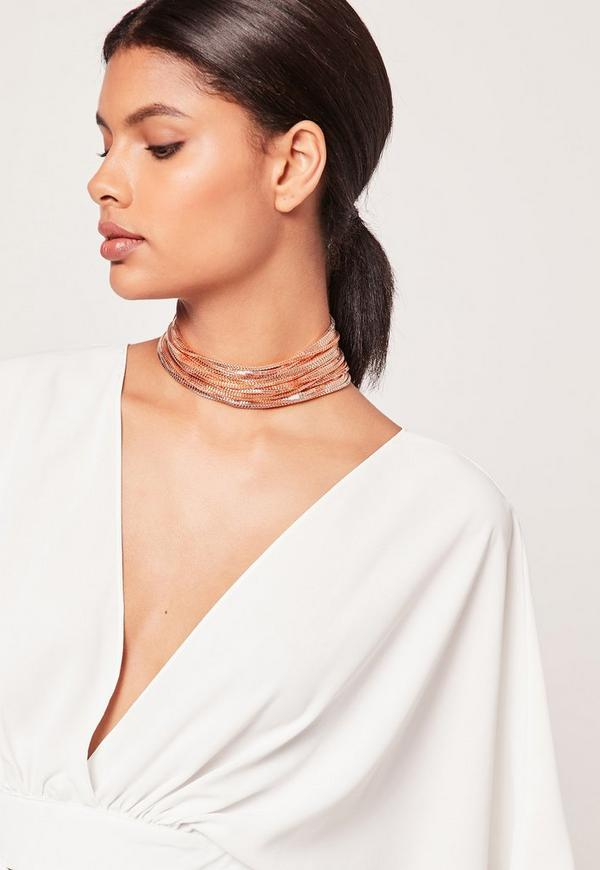 layered multi chain choker necklace rose gold