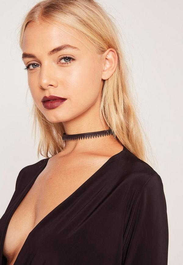 Faux Suede Cut Out Choker Necklace Black