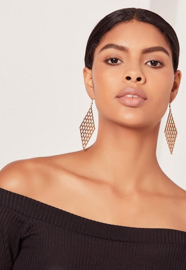 Mesh Drop Earrings Gold