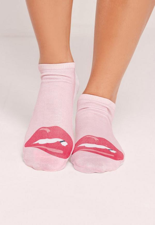 Lips Socks Pink