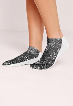 Bandana Print Socks Black