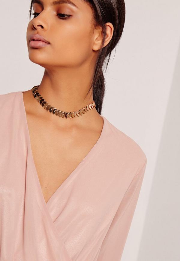 Half Leaf Choker Necklace Gold