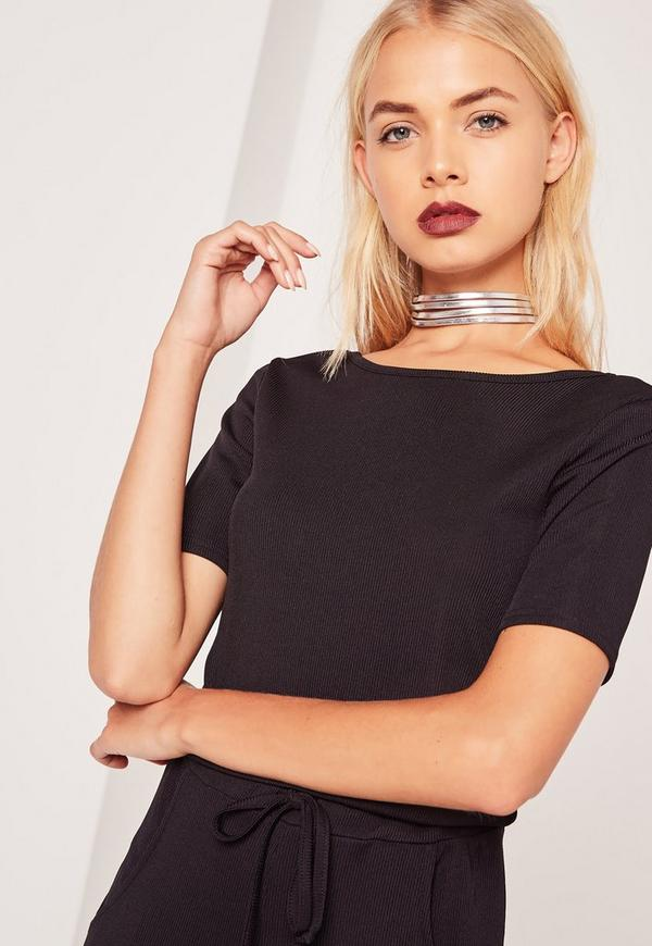 Four Layer Faux Leather Choker Necklace  Silver