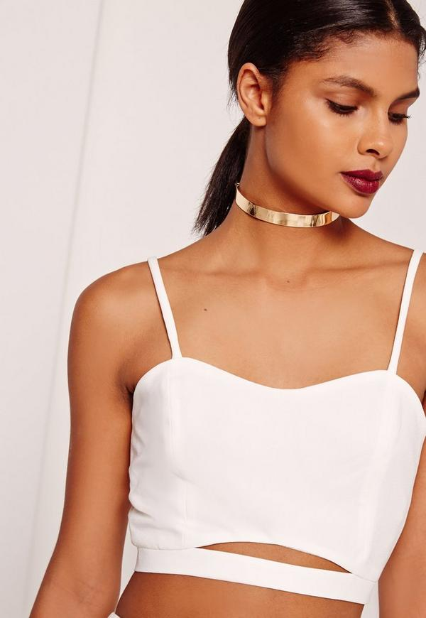 Thin Metal Choker Necklace Gold