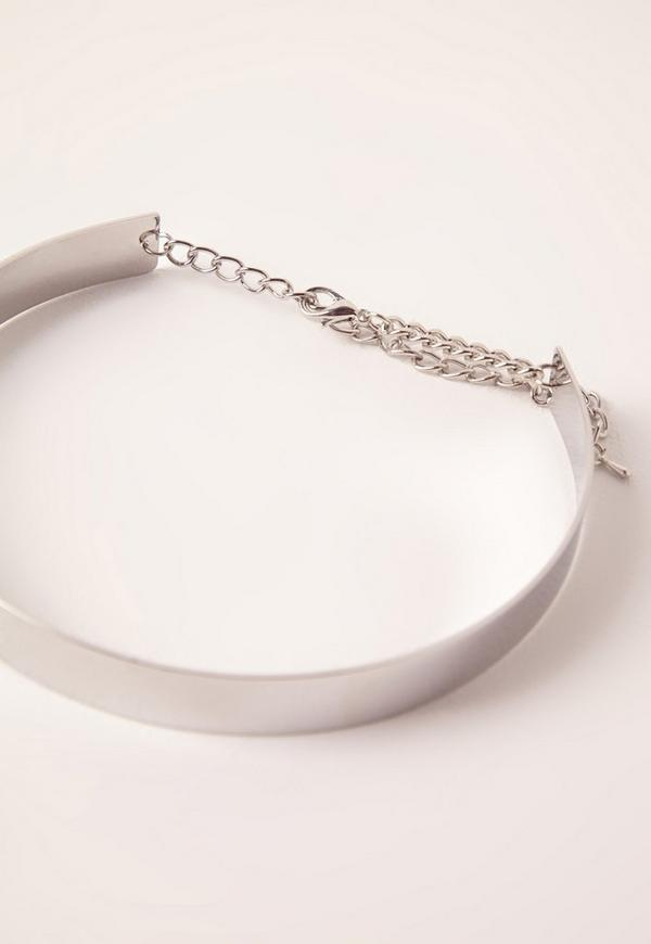 thin metal choker necklace silver missguided