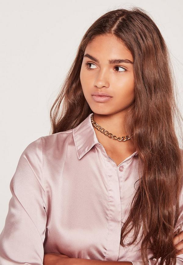Chain Link Choker Necklace Gold