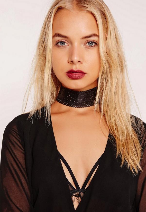 Faux Leather Cut Out Choker Necklace Black