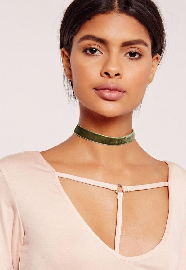 skinny velvet choker necklace khaki