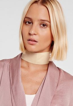 thick velvet choker necklace cream