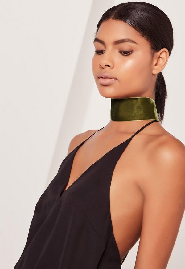 wide velvet choker necklace khaki