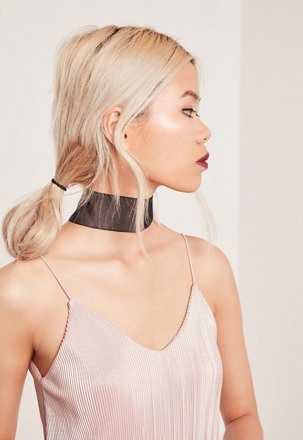 thick organza choker necklace black
