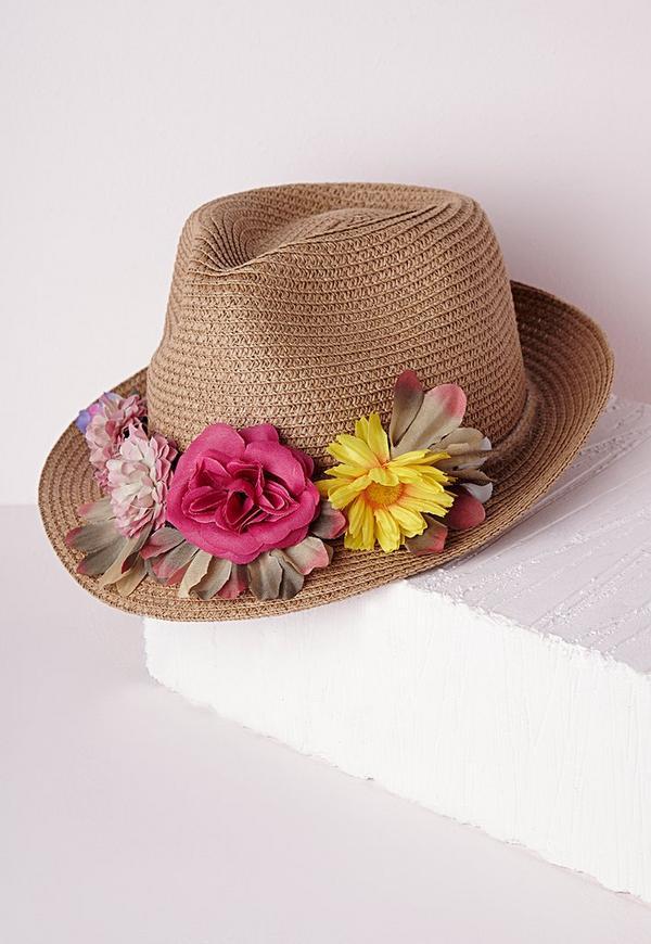 Statement Floral Trim Woven Hat Multi