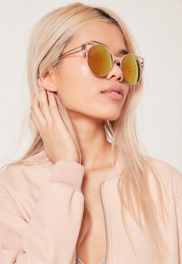 Cat Eye Metal Frame Revo Lense Sunglasses Gold