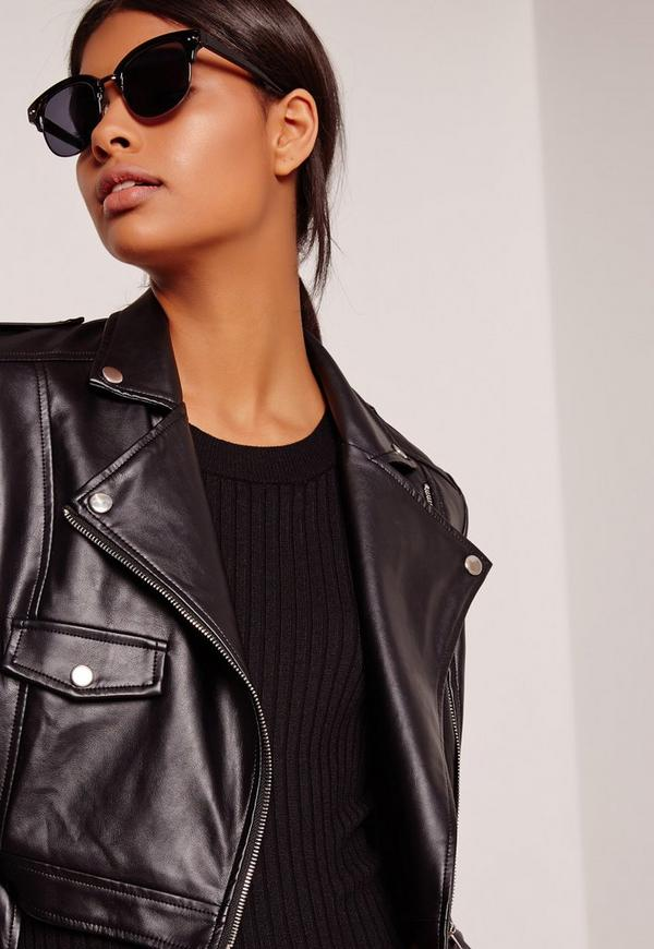 Half Frame Silver Detail Sunglasses Black