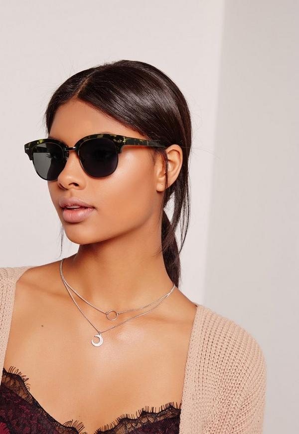 Half Frame Matte Tortoise Shell Sunglasses Brown