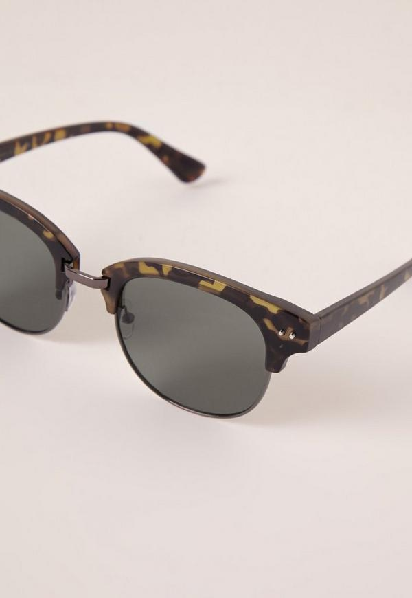Half Frame Glasses Brown : Half Frame Matte Tortoise Shell Sunglasses Brown Missguided