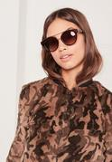 T-Bar Gold Wire Detail Sunglasses Brown
