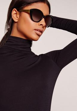Gold Arm Cat Eye Sunglasses Black