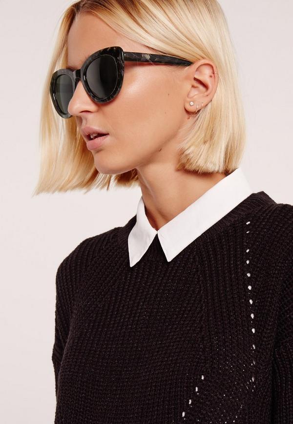 Printed Soft Cat Eye Frame Sunglasses Black