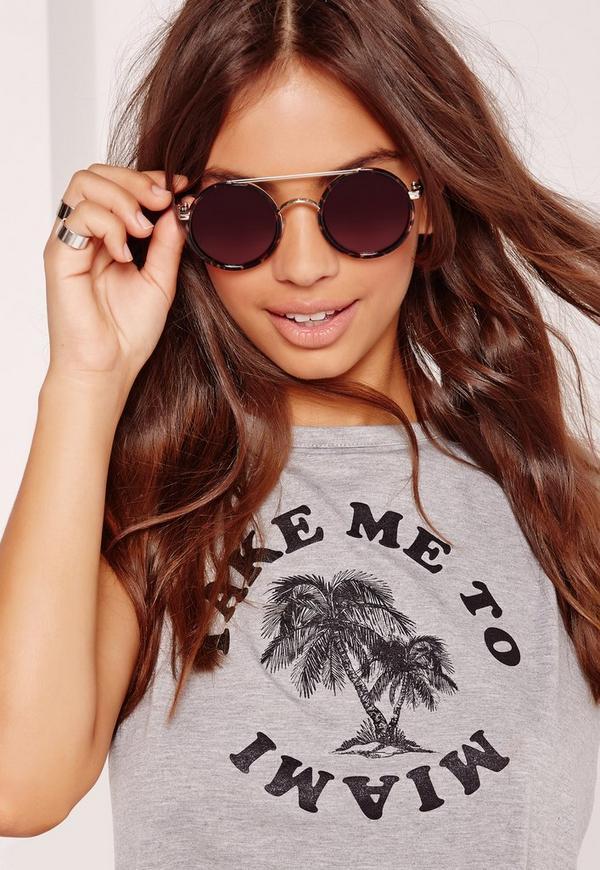 Round Frame Bar Detail Sunglasses Black