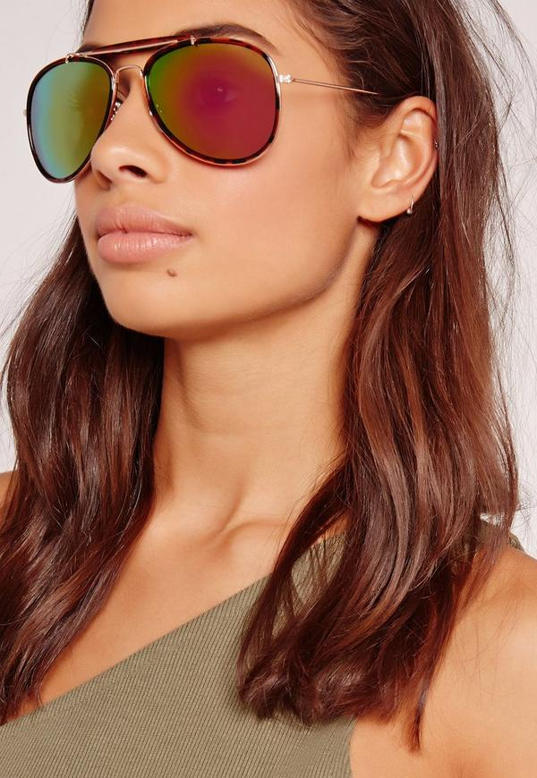T-Bar Aviator Sunglasses Rainbow Lens Multi