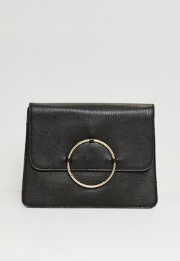 Circle Trim Oversized Clutch Bag Black