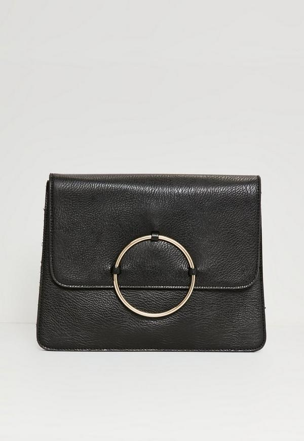Circle Trim Oversized Clutch Bag Black