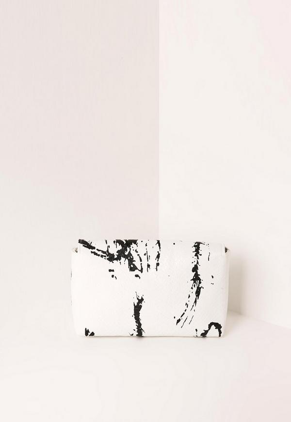 White Marble Effect Cross Body Bag