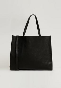Clean Edge Textured Tote Bag Black