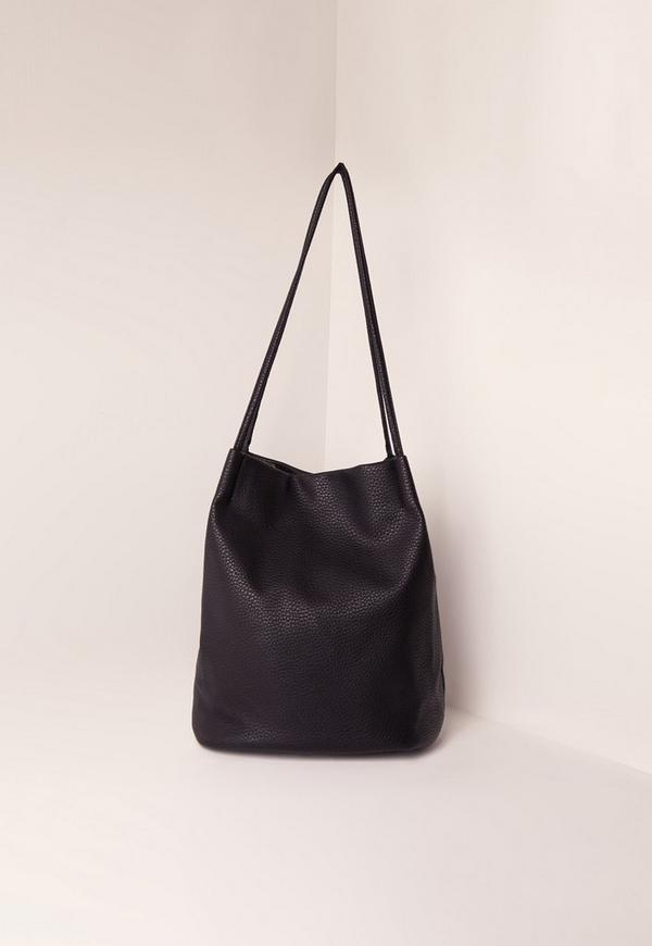Circular Minimal Bucket Bag Black