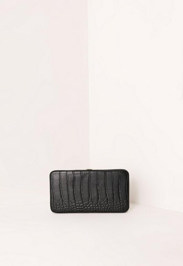 Faux Leather Croc Phone Purse Black