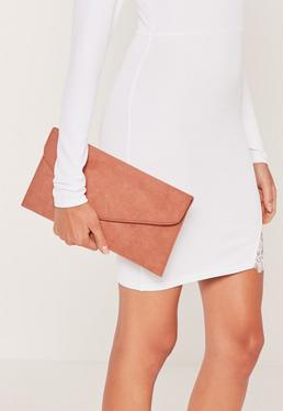 Pink Faux Suede Envelope Clutch Bag