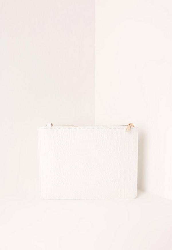 Faux Leather Zip Top Croc Clutch Bag White