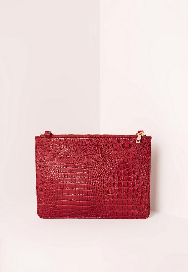 Faux Leather Zip Top Croc Clutch Bag Red