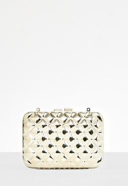 Quilted Metal Clutch Bag Gold
