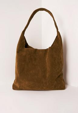 Tan Faux Suede Tote Bag