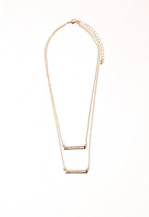 Wannabe Unicorn Layered Necklace Gold