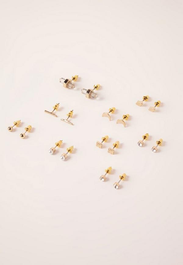 9 Stud Earring Pack Rose Gold
