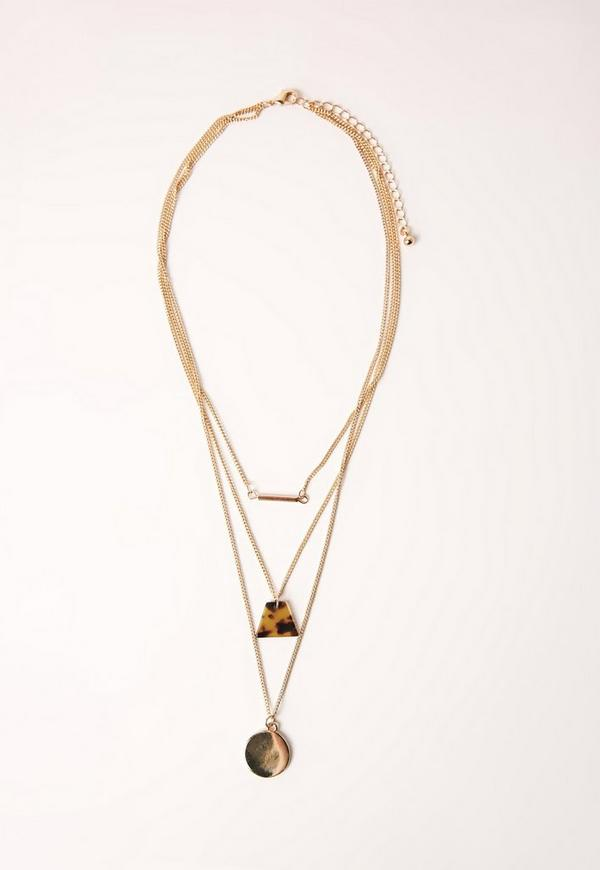 Layered Tortoise Shell Detail Necklace Gold