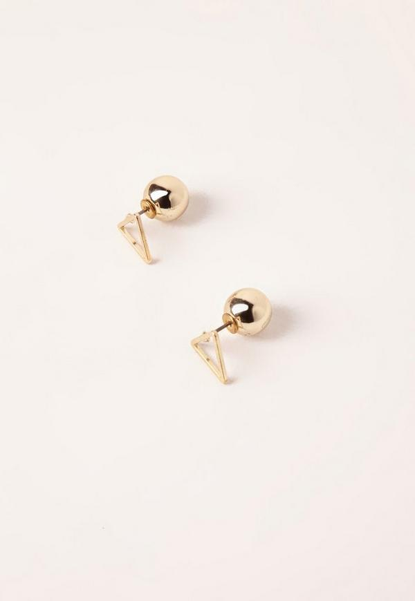 Double Backed Stud Earrings Gold