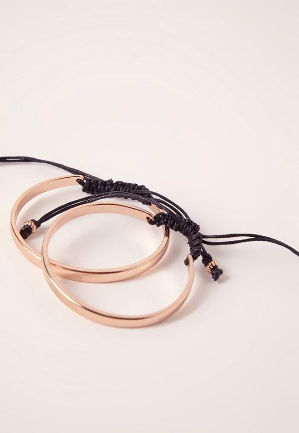 Two Pack Tie Bracelets Rose Gold