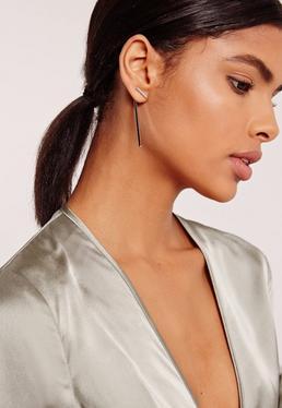 Silver Drop Detail Earrings