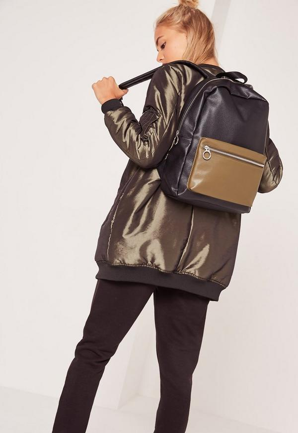 Black Colour Block Sport Backpack