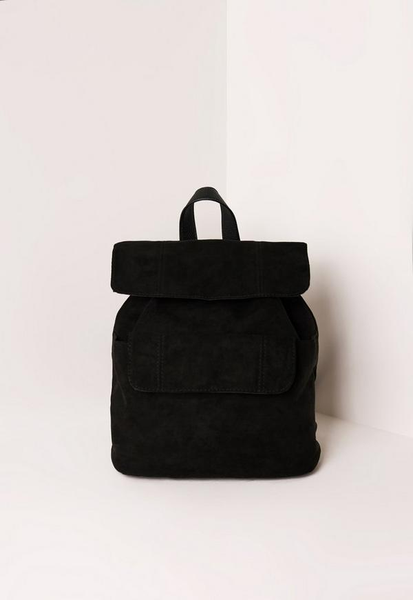 Black Faux Suede Pocket Detail Backpack