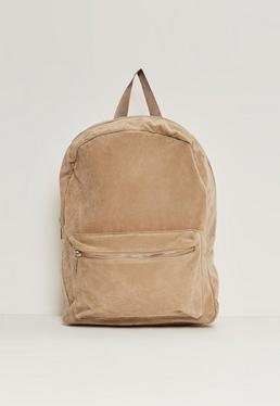 Camel Faux Suede Sport Backpack