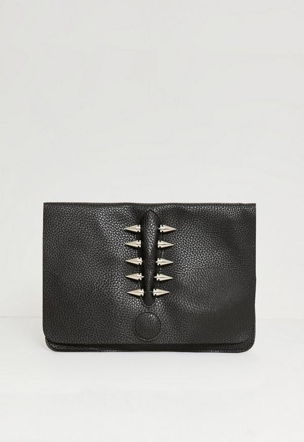 Piercing Trim Raw Edge Clutch Bag Black